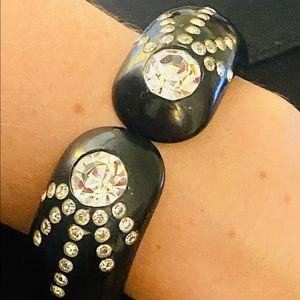 Vintage Bakelite Rhinestones Hinged Bracelet
